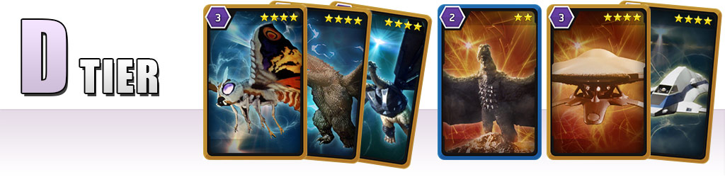 D Tier: Mothra '01/King Ghidorah '01/Mecha-King Ghidorah, Rodan '64, MOTHER/GX-813 Griffon