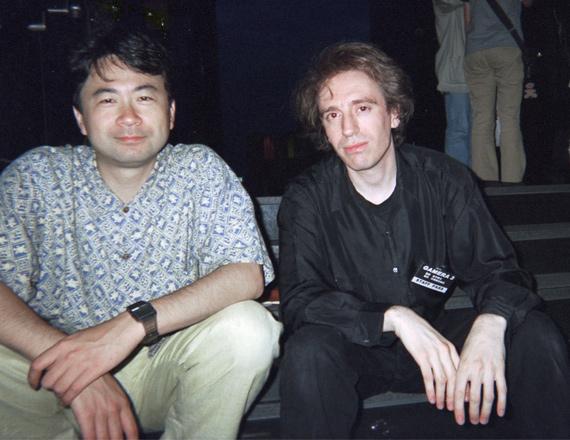 Shusuke Kaneko and Norman England on the set of Gamera 3