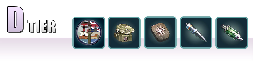 D Tier: Location Badge, Optical Reader, Infant Stone, Enhanced AP Shell, Oxygen Destroyer