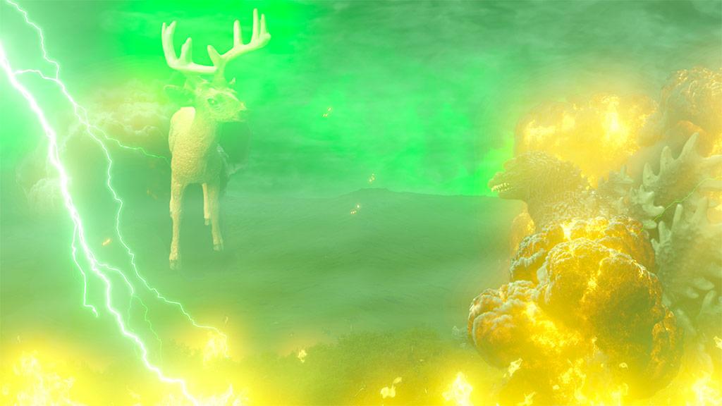 Layered effects for Godzilla vs. Bambi