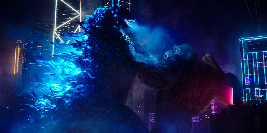 """(L-r) GODZILLA battles KONG in Warner Bros. Pictures' and Legendary Pictures' action adventure """"GODZILLA VS. KONG,"""" a Warner Bros. Pictures and Legendary Pictures release."""