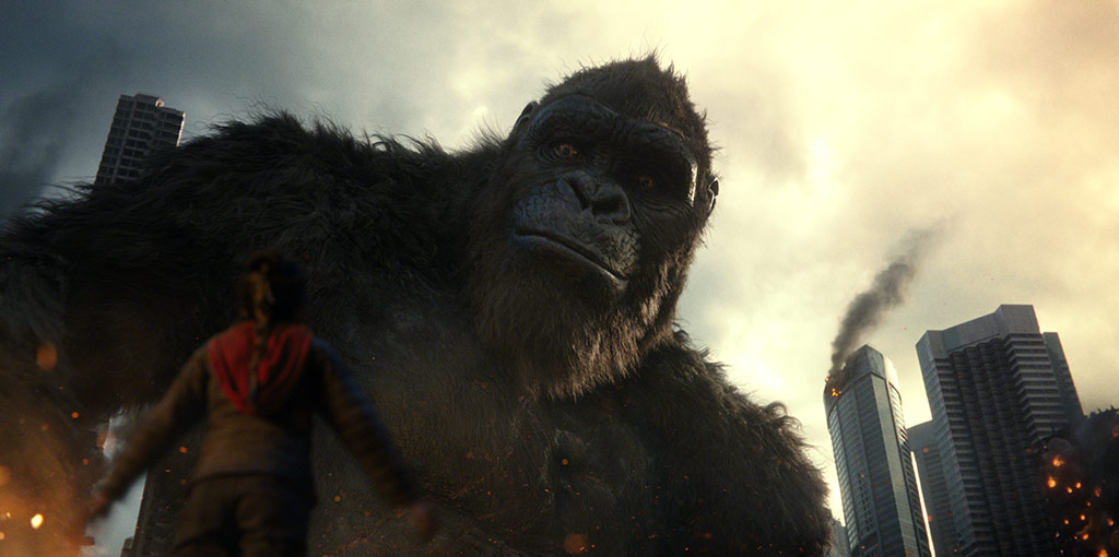 """(L foreground-r) KAYLEE HOTTLE as Jia with KONG in Warner Bros. Pictures' and Legendary Pictures' action adventure """"GODZILLA VS. KONG,"""" a Warner Bros. Pictures and Legendary Pictures release."""